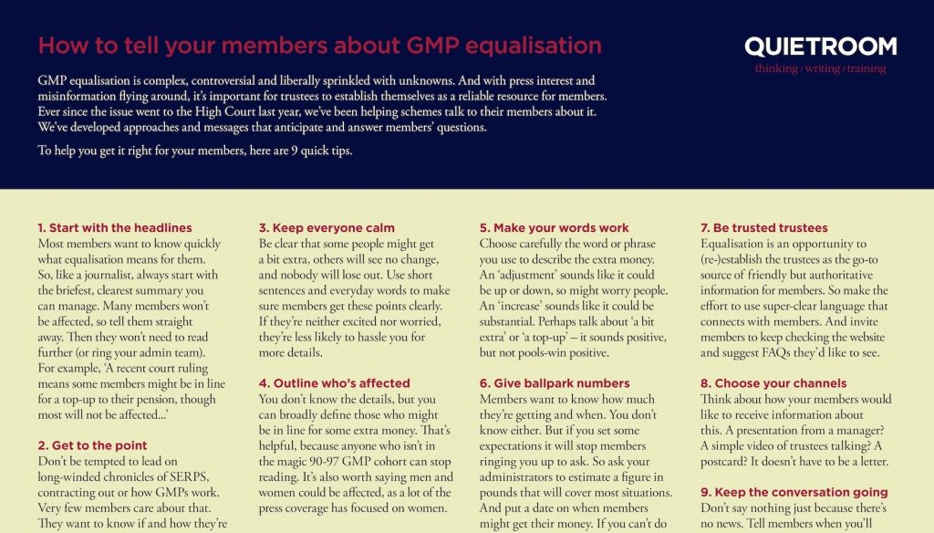 Tips for talking to members about GMP equalisation