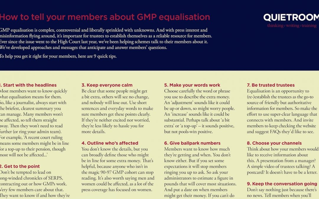 GMP equalisation: tips for talking to members